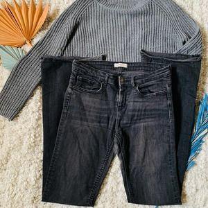 Zara Woman Black Raw Hem Boot Cut High Rise Jeans
